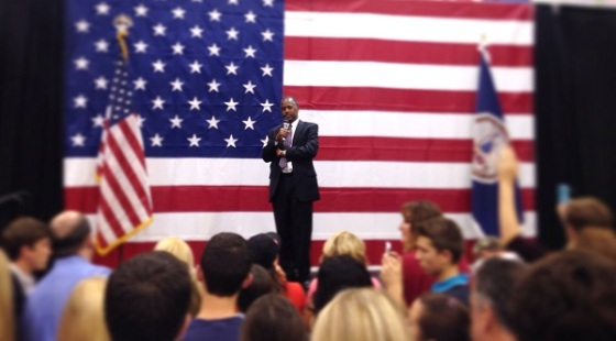 Republican presidential candidate Ben Carson speaks to a crowd of 2,000 in Virginia. Photo By/Trevor Baratko